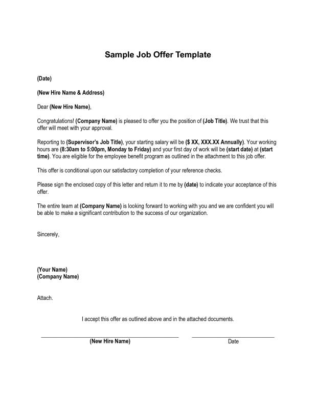 Sample Employment Offer Letter Template Business