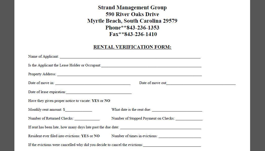apartment employment verification form - Erkaljonathandedecker