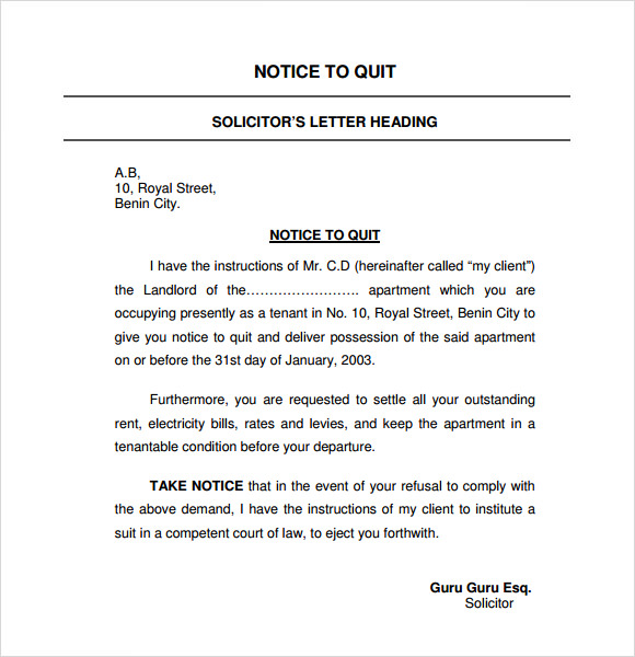 Sample Eviction Notice For Nonpayment Of Rent Template Business - notice to vacate template letter