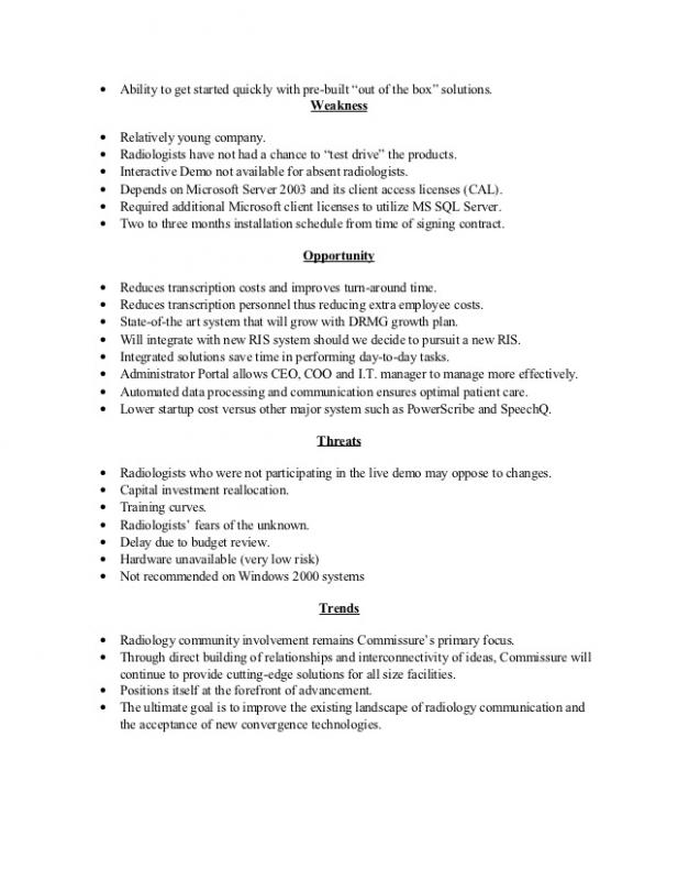 Sample Executive Summary Template Business