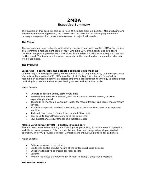 writing an executive summary for a business plan - Josemulinohouse - example executive summary report