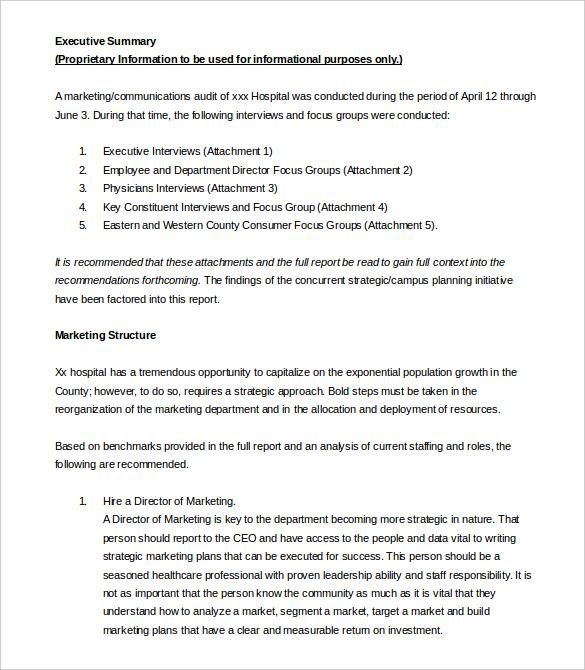 Sample Executive Summary Template Business