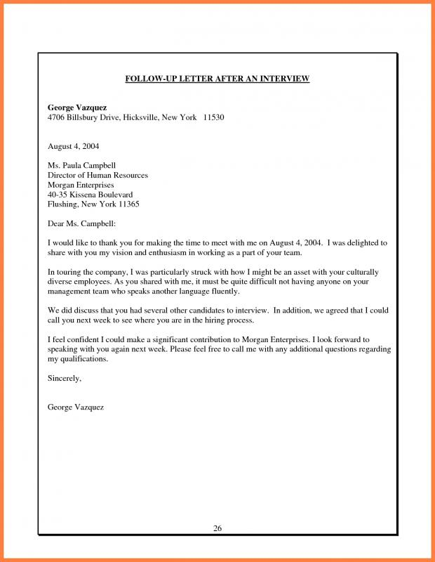 Sample Follow Up Email After Interview Status Template Business