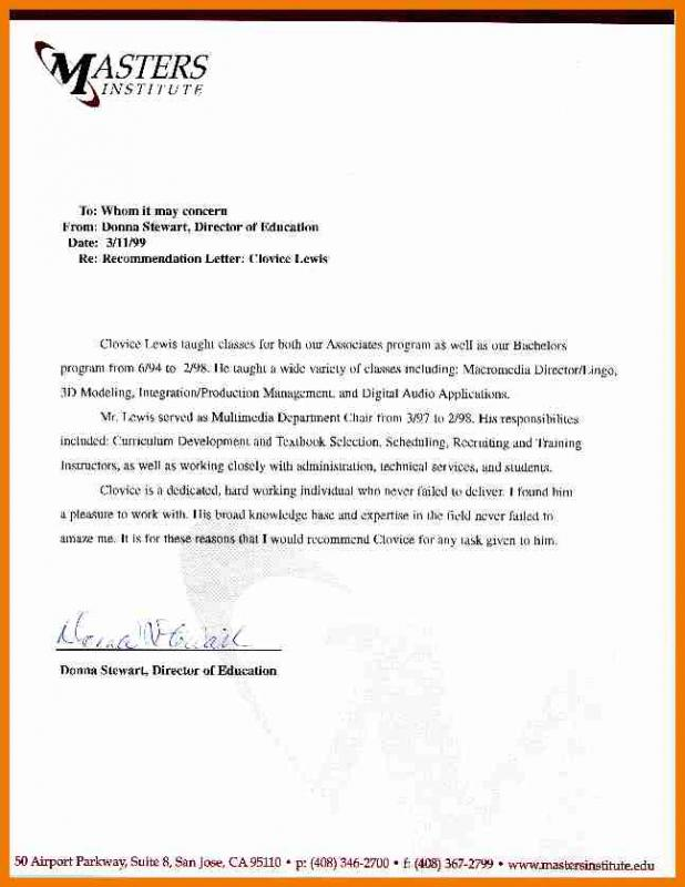 Sample Letter Of Recommendation For Graduate School Template Business