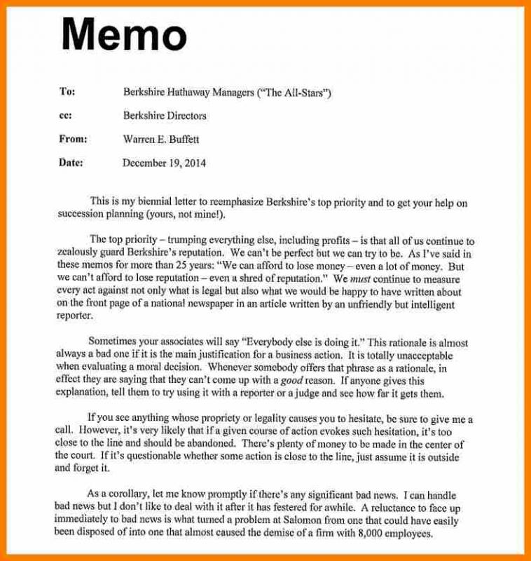 Sample Memo Format Template Business - Sample Memos For Employees