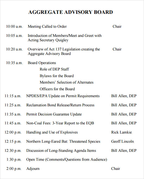 Sample Minutes Of Meetings Template Business - board meeting agenda samples