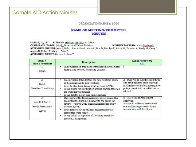 Sample Of Minutes Taken At A Meeting Template Business