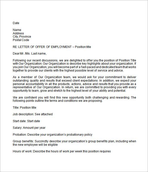 Sample Offer Letter Template Business - sample offer letter