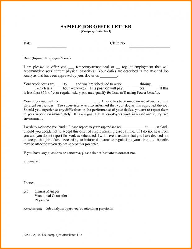 Sample Offer Letter Template Business - Offer Letter