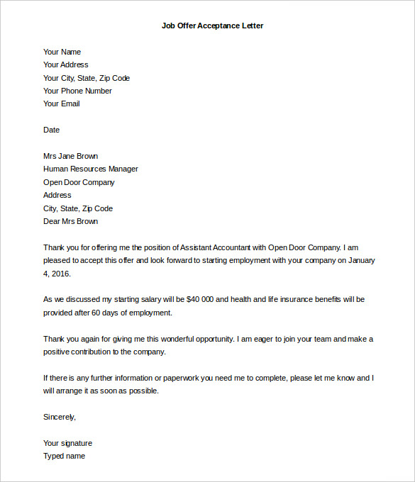 Sample Offer Letter Template Business