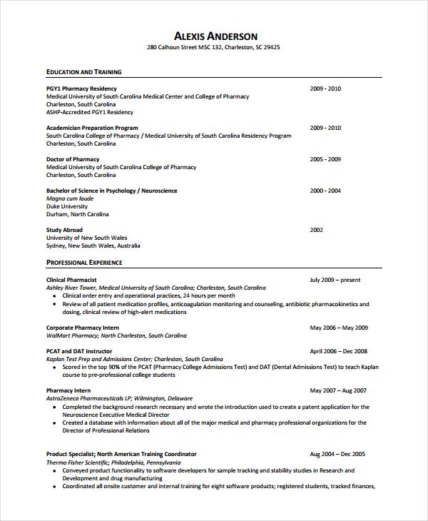 sample pharmacy resume - Yokkubkireklamowe