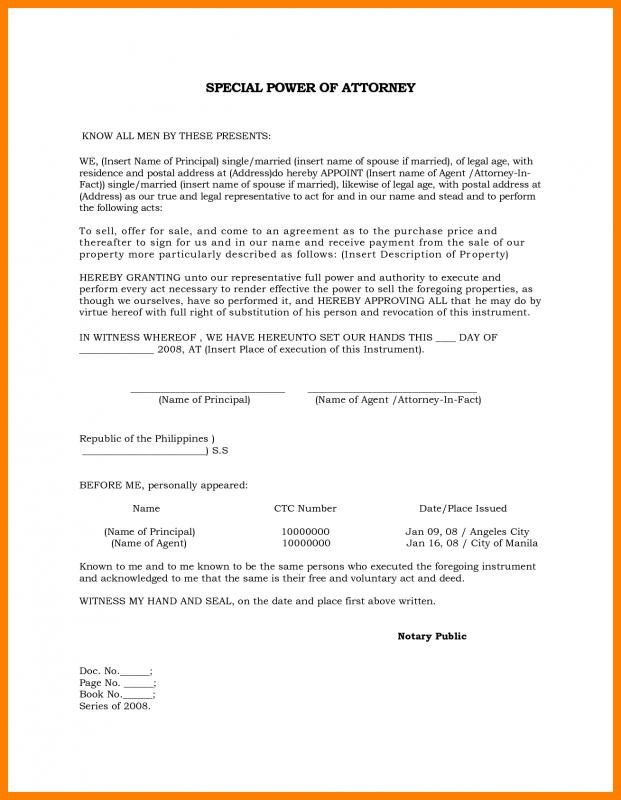 Sample Power Of Attorney Template Business - power of attorney sample letters