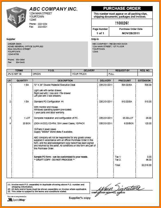 Sample Purchase Order Template Business