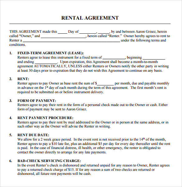 Sample Rental Agreement Template Business - Sample Rental Agreements