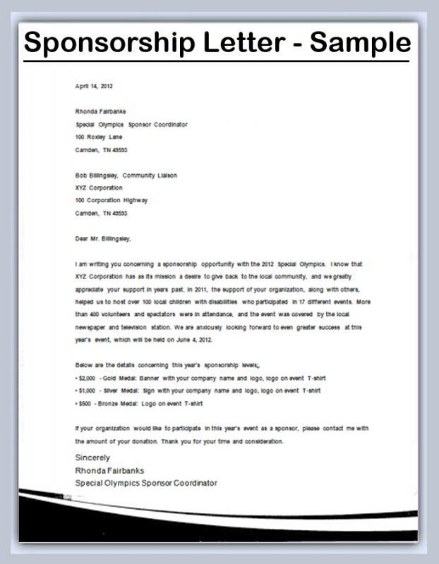 Sample Sponsorship Letter Template Business