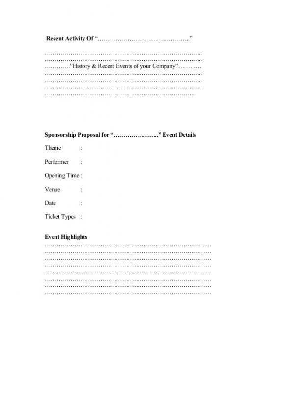 Sample Sponsorship Proposal Template Business