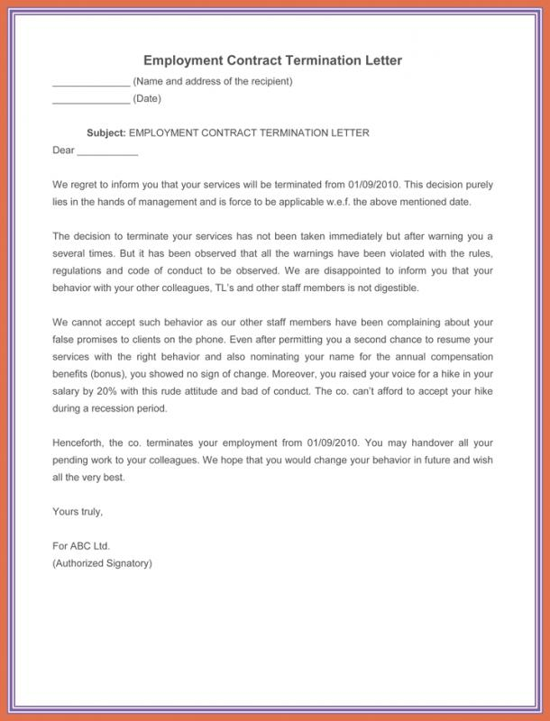 Sample Termination Letter Without Cause Template Business - employment termination letters