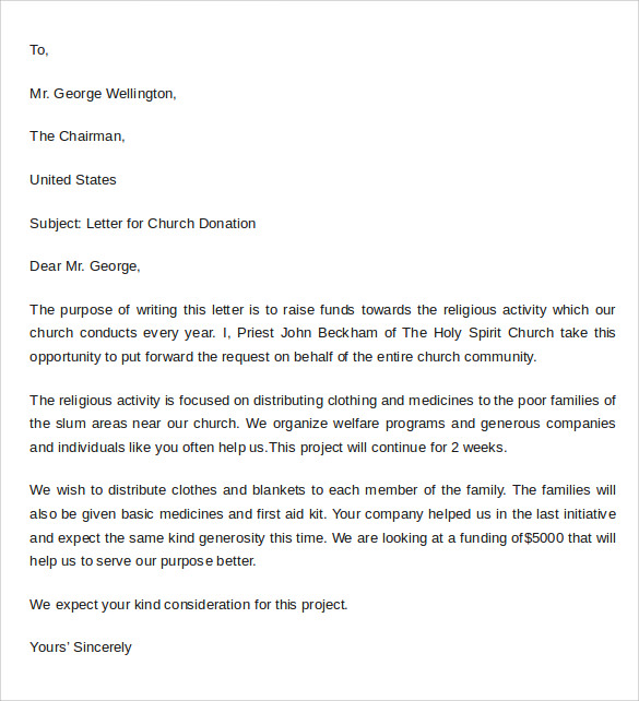 Sample Thank You Letter For Donation To Church Template Business