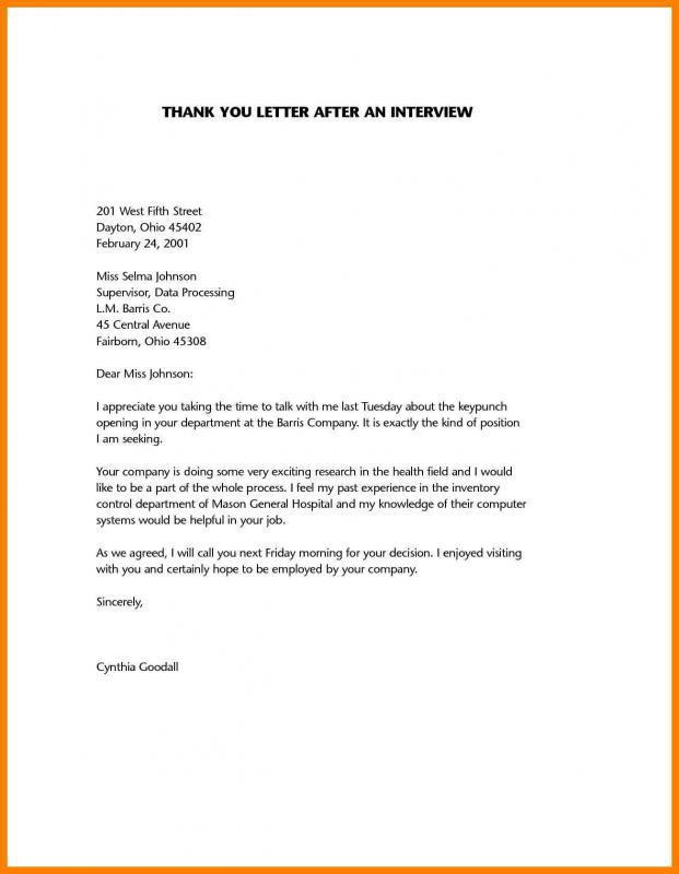 Sample Thank You Notes After Interview Template Business