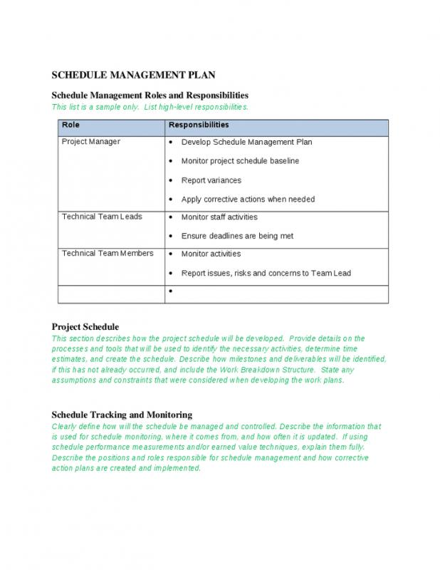Schedule Management Plan Template Business