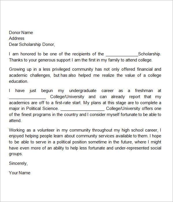 Scholarships Thank You Letter Sample Template Business