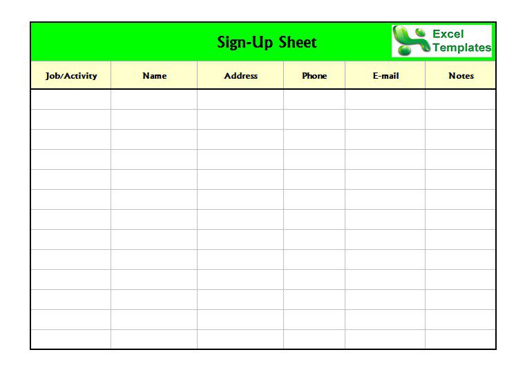 Sign In Sheet Template Excel Template Business