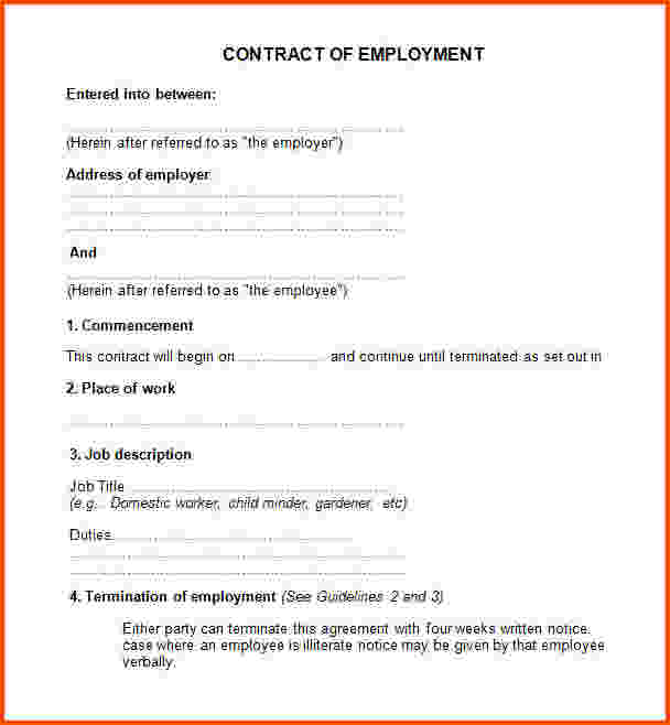 Simple Employment Agreement Template Business