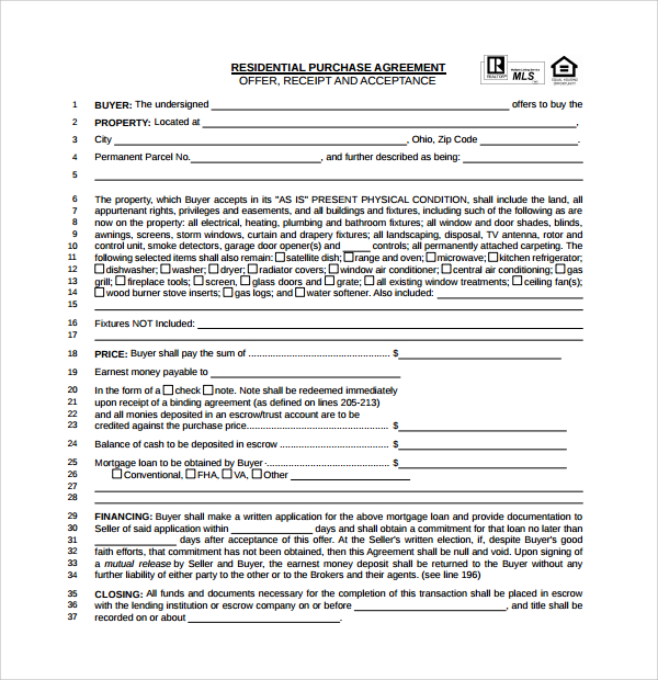 Simple Home Purchase Agreement Template Business