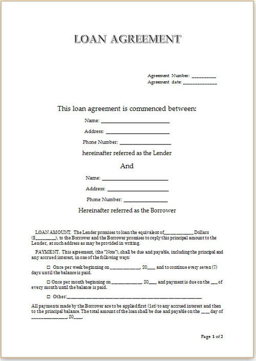Personal Loan Contract Agreement - private loan agreement template