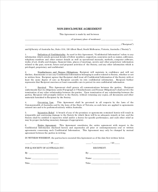 Simple Non Disclosure Agreement Template Business
