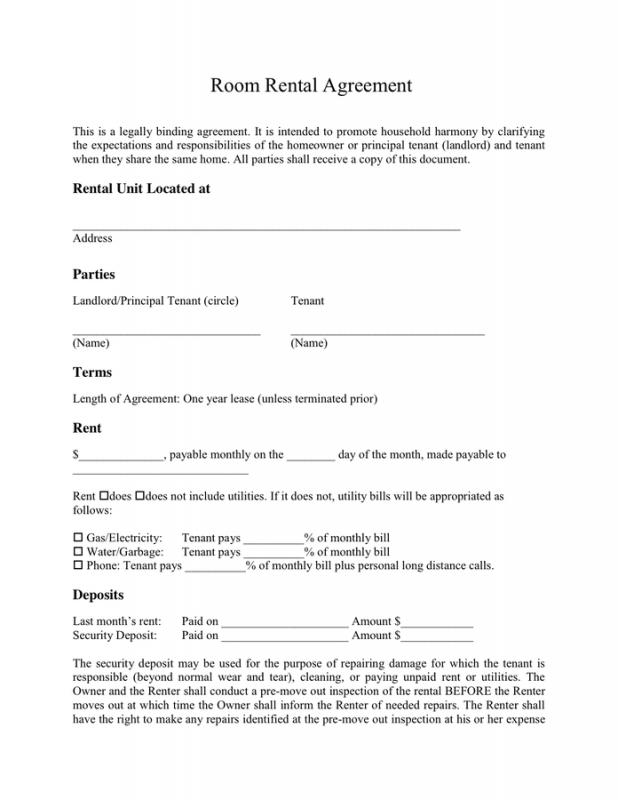 Simple One Page Rental Agreement Template Business - simple rental agreements