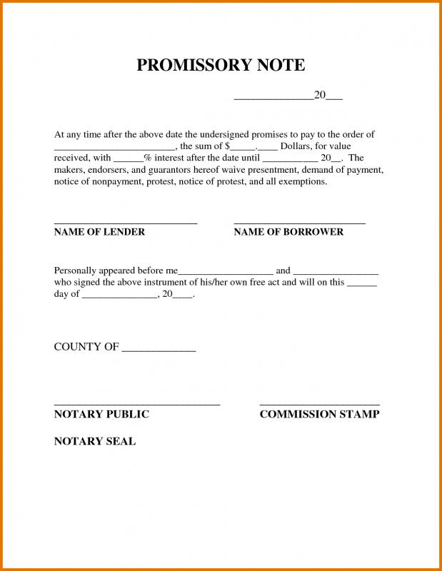 Promissory Note Free Promissory Note Agreement Form Sample
