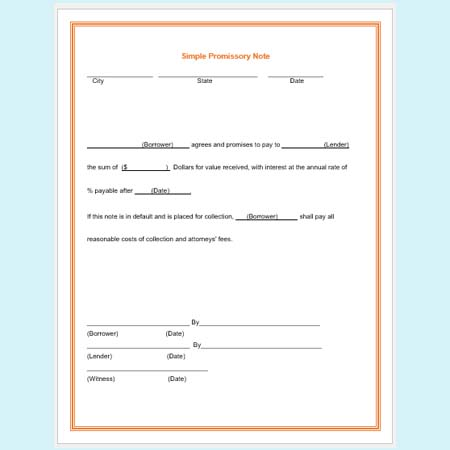 Simple Promissory Note Template Business