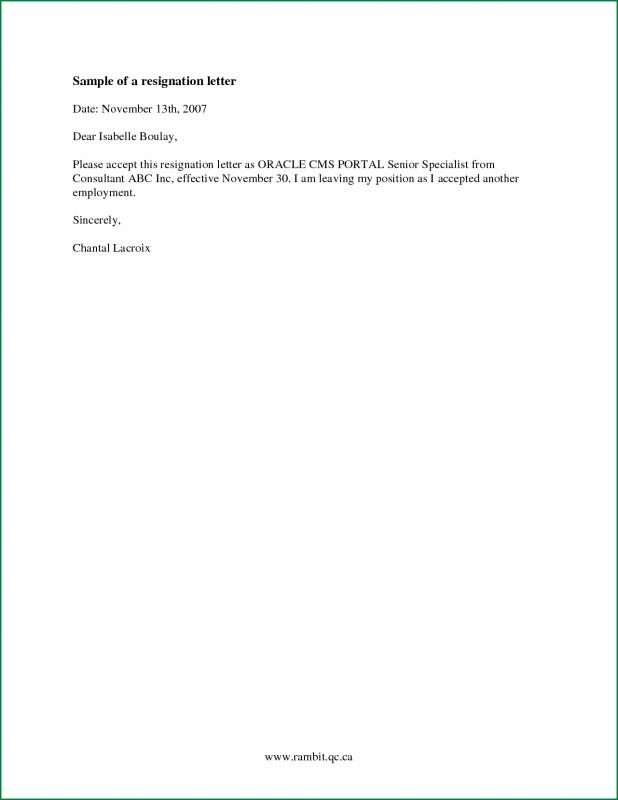 Simple Resign Letter Format Images - letter format formal example