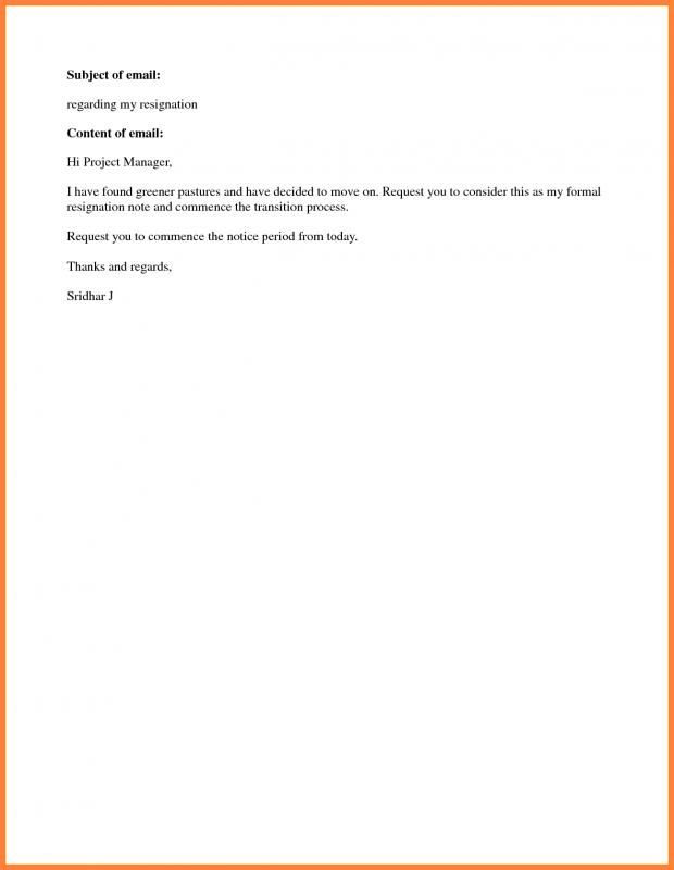 Simple Resignation Letter Template Business