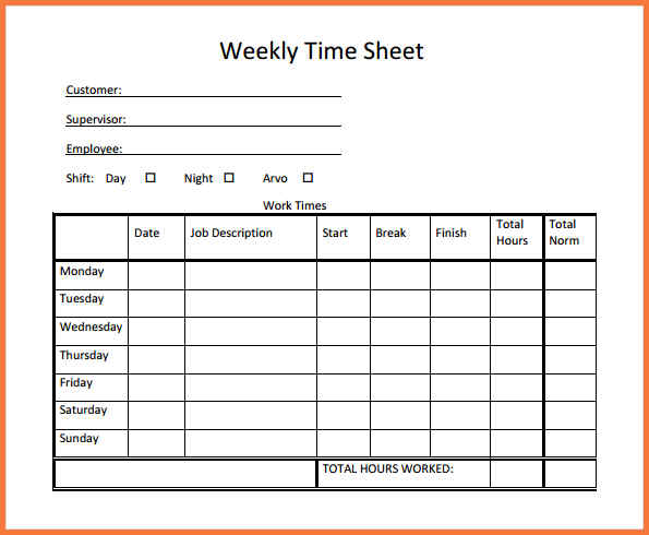 Simple Timesheet Template Template Business