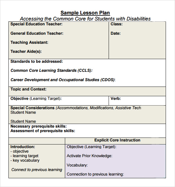 siop lesson plan examples