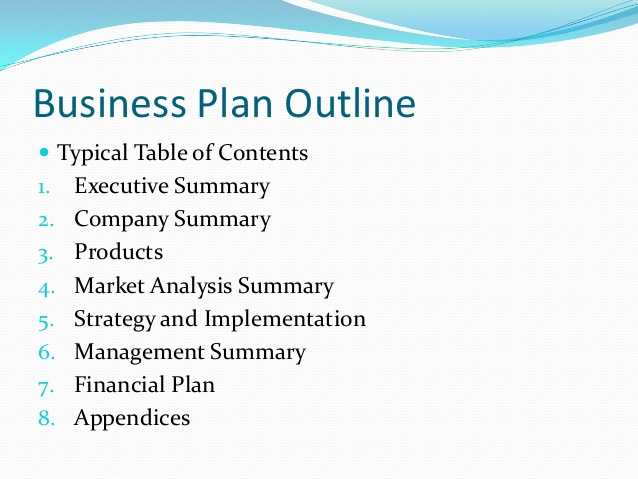 Small Business Plan Outline Template Business