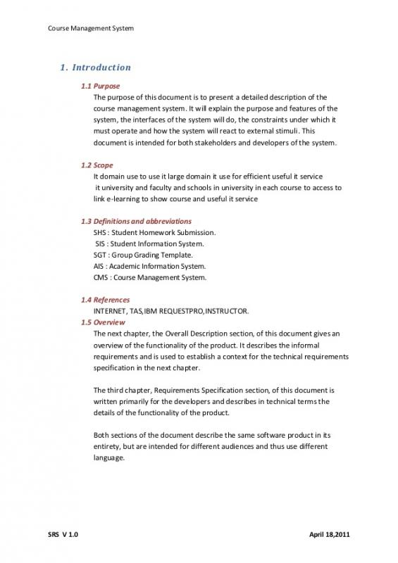 Software Requirements Document Template Template Business - software specification template