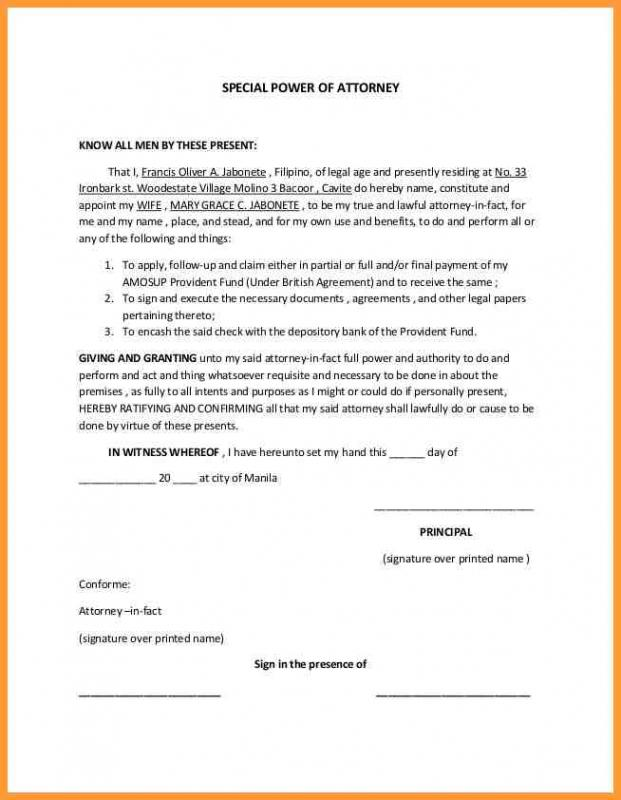 Special Power Of Attorney Form Template Business