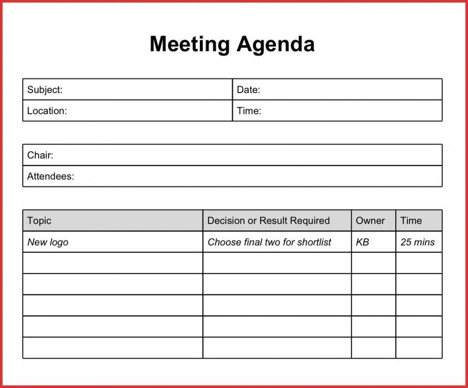 Staff Meeting Agenda Template Template Business