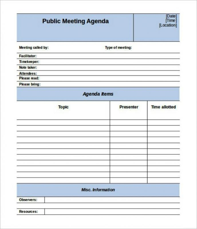 Staff Meeting Agenda Template Template Business