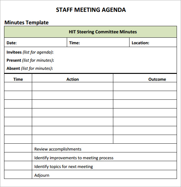 Staff Meetings Agenda Template Template Business