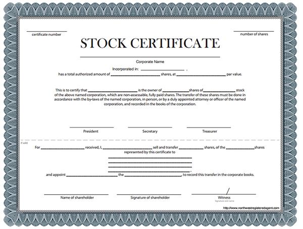 Stock Certificate Template Template Business