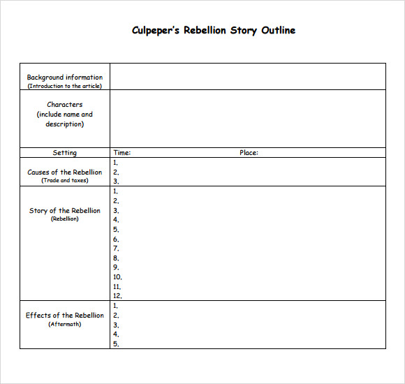 Story Outline Template Template Business - book outline template