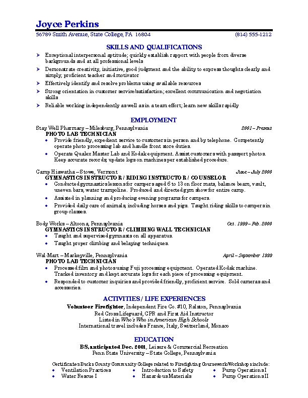 example student resumes - Intoanysearch