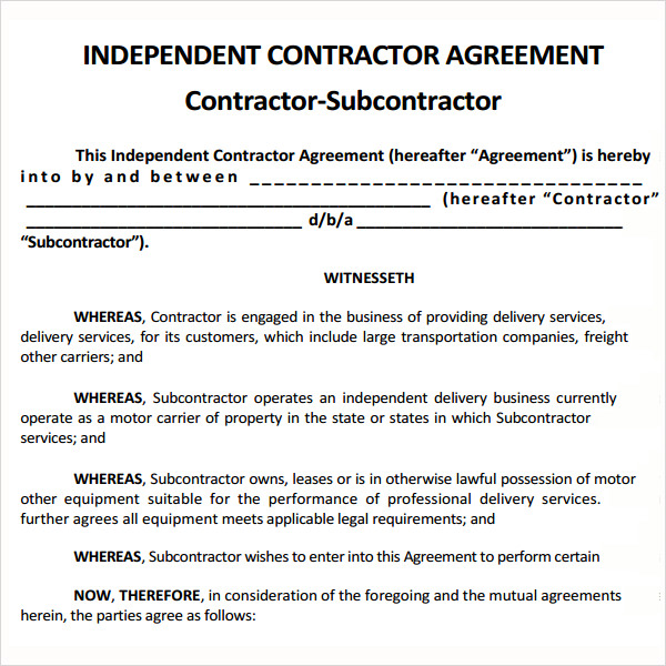 Subcontractor Contract Template Subcontractor Example Myenvoc Me - sample contractor agreements