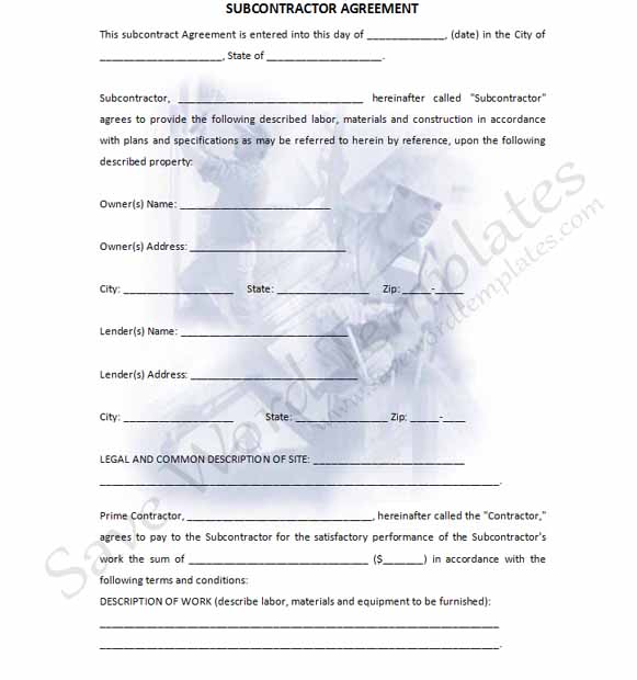 Subcontractor Contract Template Template Business - subcontractor agreement template