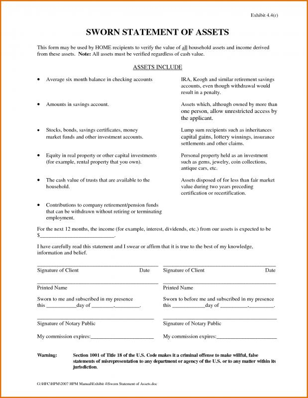 Sworn Statement Template Template Business