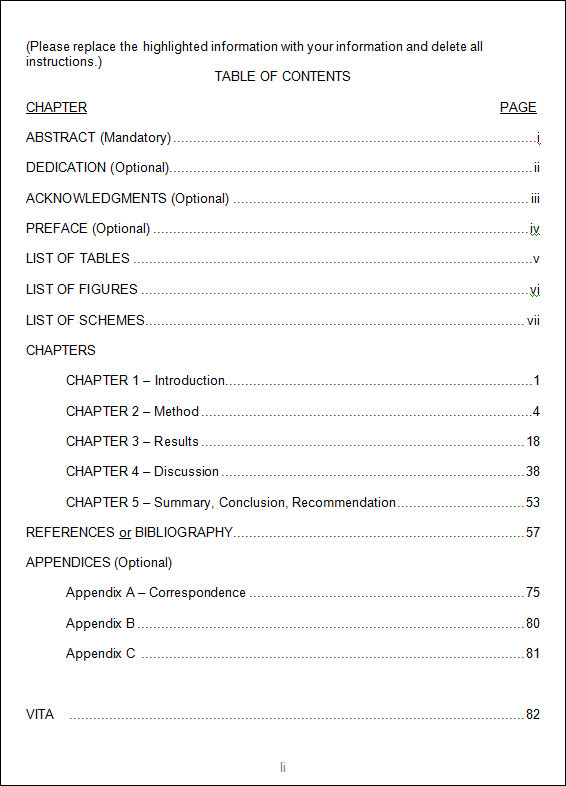 Table Of Contents Template Template Business